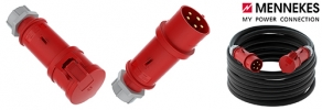CEE extension 32A H07RN-F 5G6 with plug and coupling